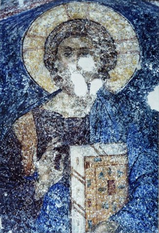 a damaged fresco from the monastery in Mystras, Greece.