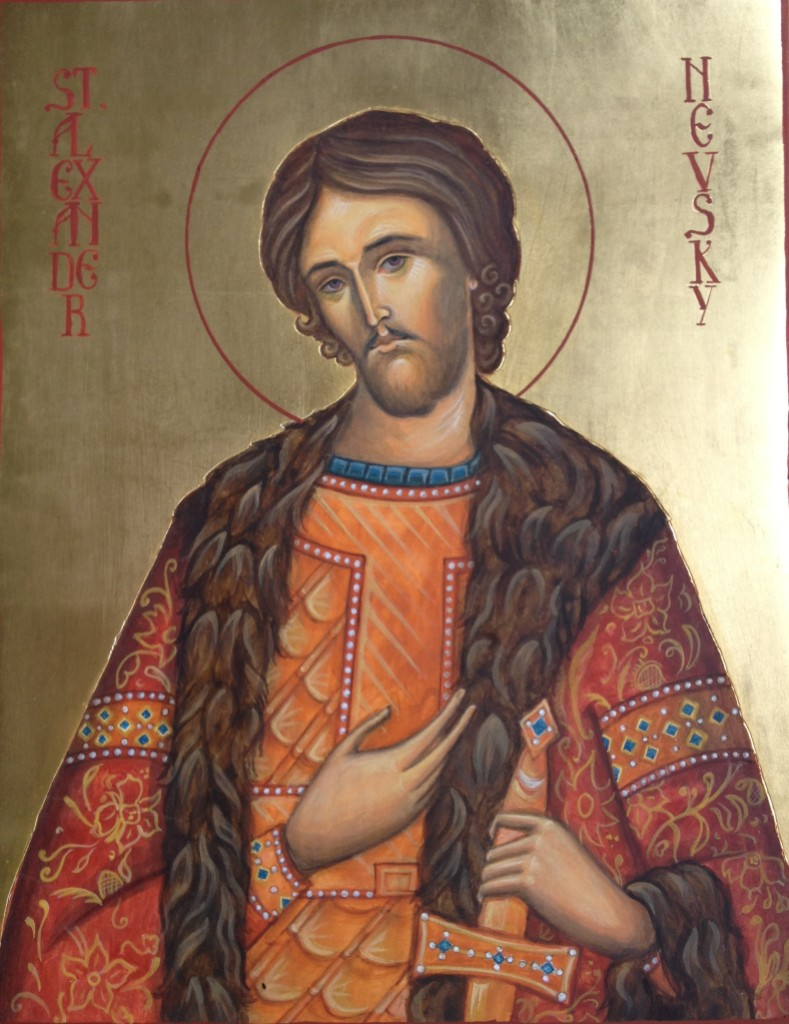 St Alexander Nevsky, water gilding and egg tempera